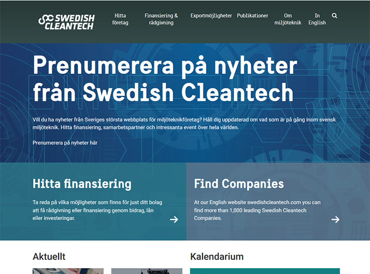 Övre delen av Swedish cleantech.se