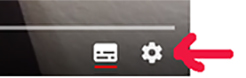 Picture showing settings in the Youtube player